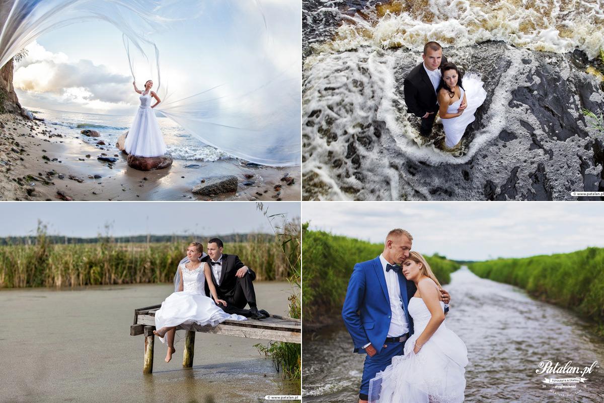 Galeria zdjęć z sesji w plenerze, Profesjonalne sesje ślubne w plenerze, Plener ślubny na Mazurach nad jeziorem, Pomysły na plener ślubny na rzeką i morzem Łomża Pisz Kolno Zambrów Ostrołeka