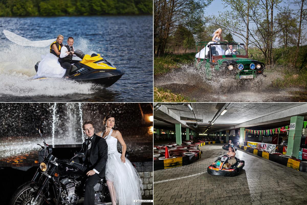zwariowane plenery ślubne, para młoda na skuterze wodnym, plener ślubny w samochodzie terenowym, para młoda na motorze, pomysły na plener ślubny, fotograf łomża