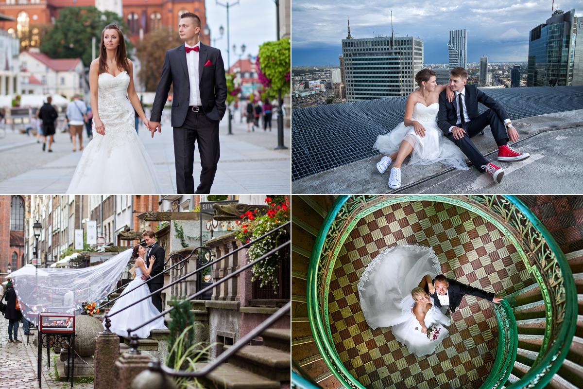 Galeria zdjęć z sesji w Białymstoku, Plener ślubny w Warszawie na dachu wieżowca, Zdjęcia Pary Młodej na kręconych schodach, Zdjęcia plenerowe w Gdańsku