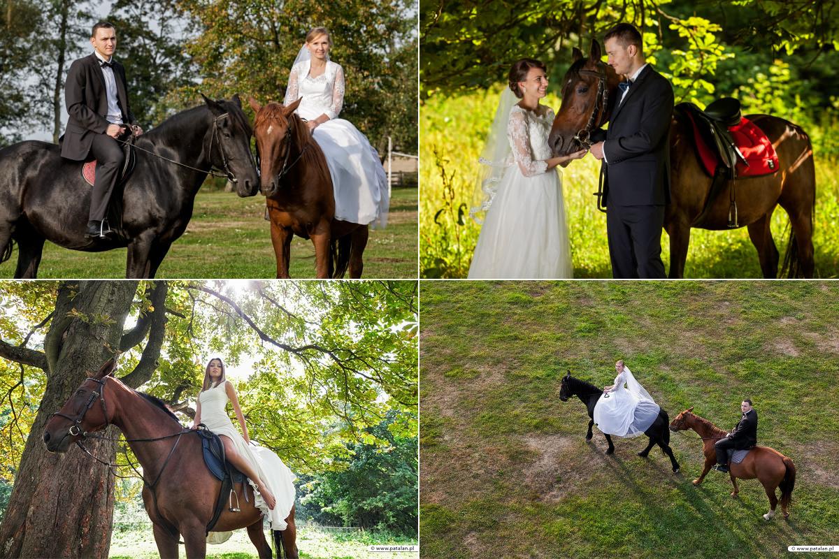 plener ślubny z końmi, para młoda na koniach, zdjęcia ślubne na koniach, plener poślubny w stadninie koni