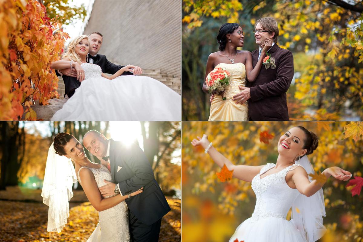 Plener ślubny jesienią, złota jesień plener ślubny, para młoda w liściach, złote liście na plenerze ślubnym, galeria zdjęć ślubnych jesienią