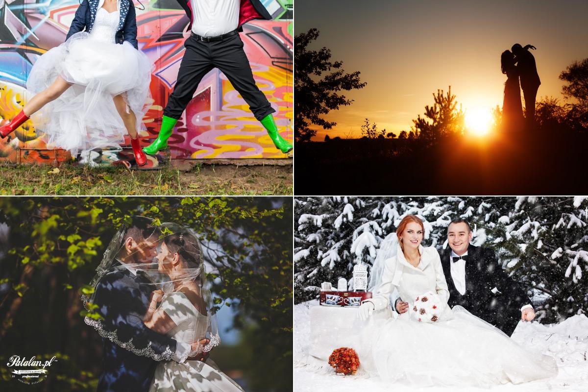 plener ślubny zimą, zachód słońca na plenerze ślubnym, zimowy plener ślubny, para młoda w welonie, fotograf łomża